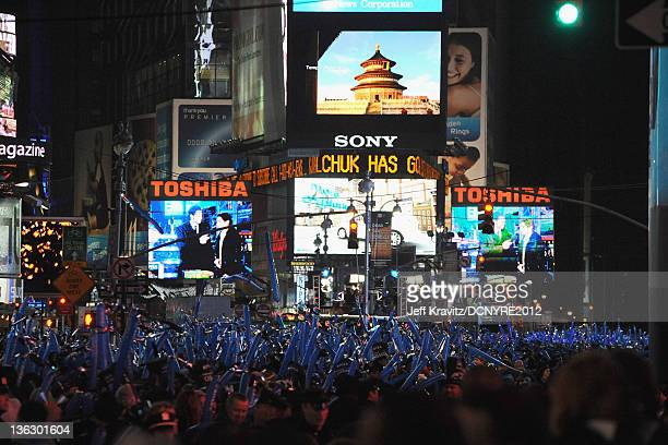 General view of the atmosphere during Dick Clark's New Year's Rockin' Eve with Ryan Seacrest 2012 at Times Square on December 31 2011 in New York City
