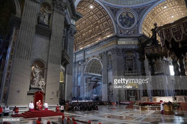 A general view of the atmosphere during the Celebration of the Lord's Passion celebreted by Pope Francis at St Peter's Basilica on April 14 2017 in...