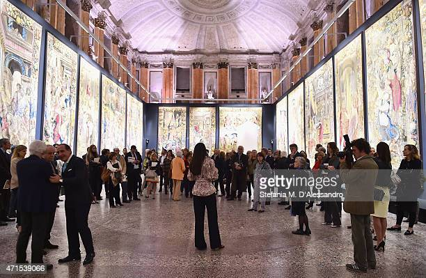 A general view of the atmosphere during the 'Il Principe dei Sogni' exhibition preview at Salone Delle Cariatidi for Gucci Main Sponsor Arazzi at...