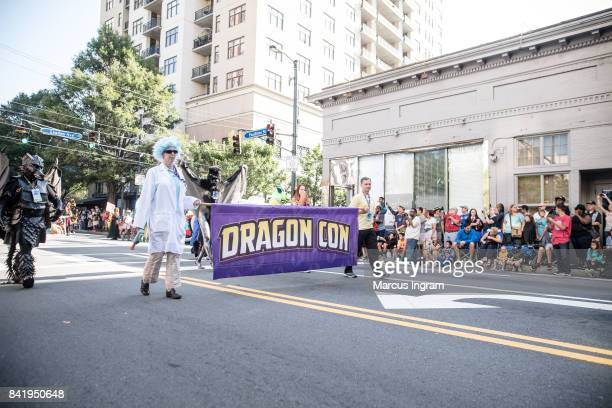 A general view of the atmosphere during the start of the 2017 DragonCon Parade on September 2 2017 in Atlanta Georgia DragonCon is a multimedia...