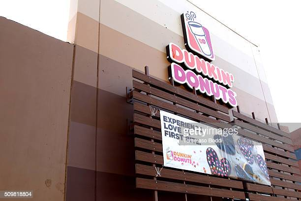 A general view of the atmosphere during the Valentine's Day With Dunkin' Donuts HeartShaped Donuts held at Dunkin Donuts on February 12 2016 in...