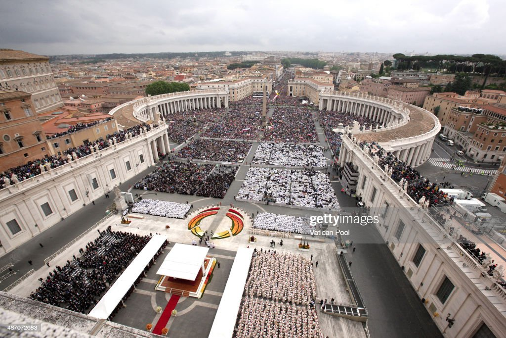 A general view of the atmosphere in St. Peter's Square as Pope Francis leads the Canonization Mass in which John Paul II and John XXIII are to be declared saints on April 27, 2014 in Vatican City, Vatican. Dignitaries, heads of state and Royals from Europe and from around the world attended the canonisations in the Vatican.