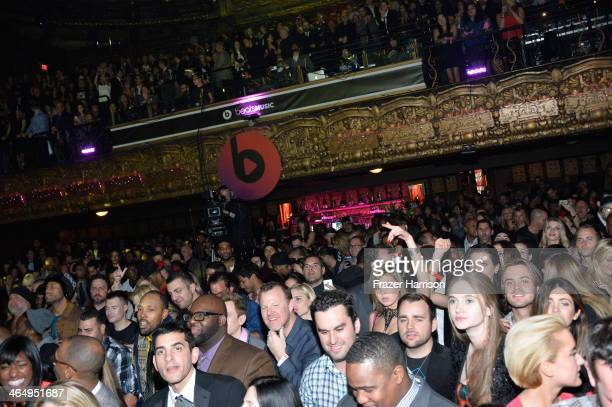 A general view of the atmosphere is seen at the Beats Music Launch Party at Belasco Theatre on January 25 2014 in Los Angeles California