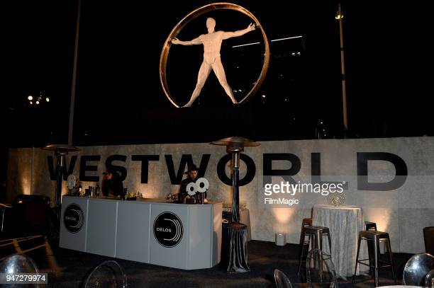 A general view of the atmosphere is seen during the Los Angeles Season 2 premiere of the HBO Drama Series WESTWORLD at The Cinerama Dome on April 16...