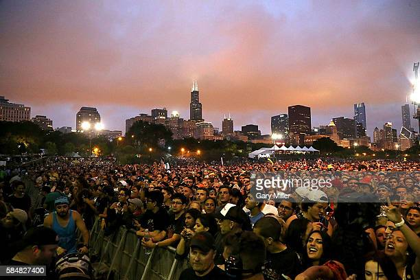 A general view of the atmosphere on day 3 of the 25th anniversary Lollapalooza at Grant Park on July 30 2016 in Chicago Illinois