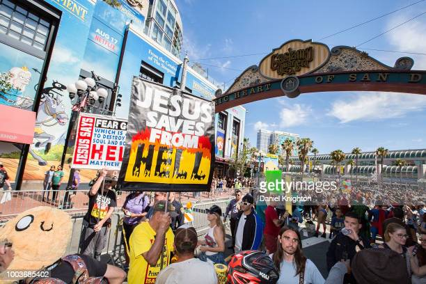 General view of the atmosphere outside ComicCon International on July 21 2018 in San Diego California