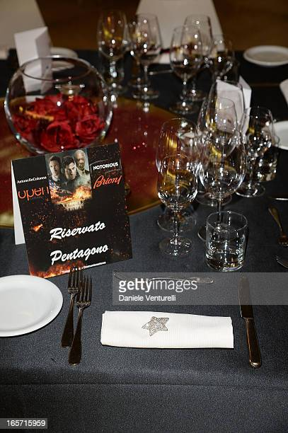 A general view of the atmosphere prior to the gala dinner by Antonello Colonna for the movie 'Olympus Has Fallen' on April 5 2013 in Rome Italy