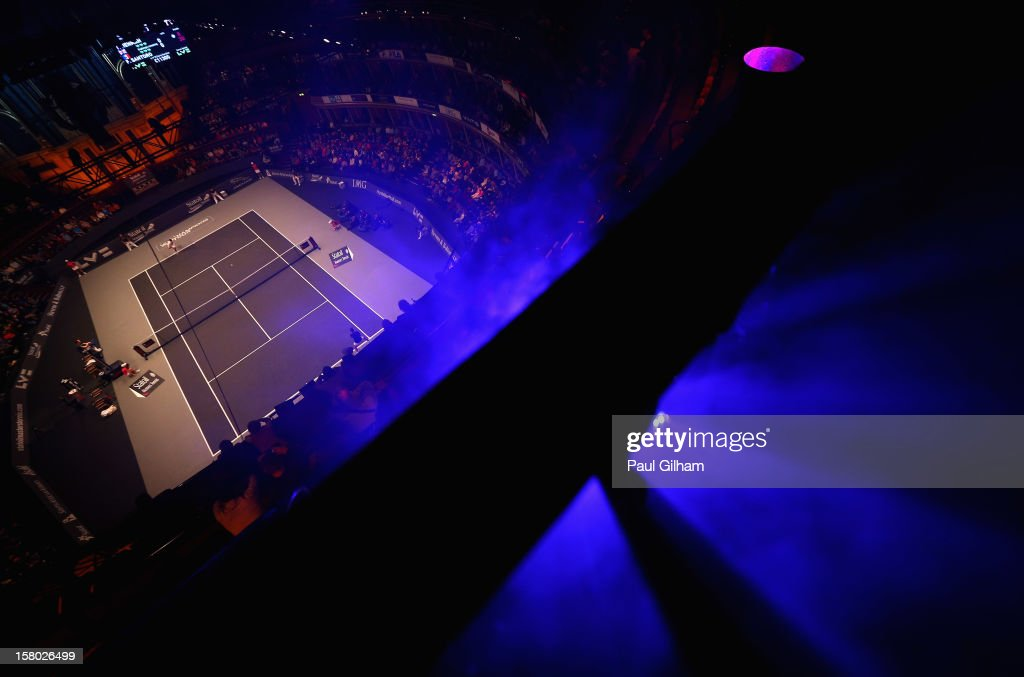 A general view of the ATP Champions Tour Final between Tim Henman of Great Britain and Fabrice Santoro of France during the Statoil Masters Tennis at Royal Albert Hall on December 9, 2012 in London, England.