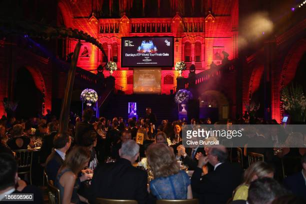 A general view of the ATP World Tour Finals gala charity dinner at the National History Museum prior to the start of ATP World Tour Finals Tennis at...
