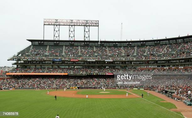 General view of the AT&T Park infield taken during the game between the San Francisco Giants and the Arizona Diamondbacks during a Major League...