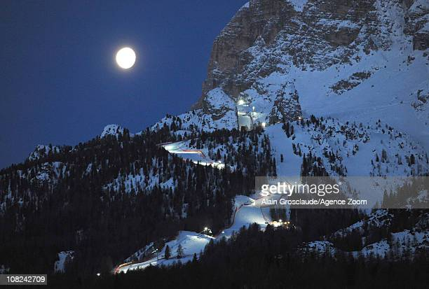 General view of the Audi FIS Alpine Ski World Cup Women's Downhill by night on January 22 2011 in Cortina d'Ampezzo Italy