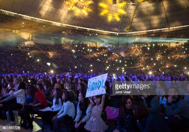 General view of the audience during Disney show Soy Luna at Palau Sant Jordi on January 5 2018 in Barcelona Spain