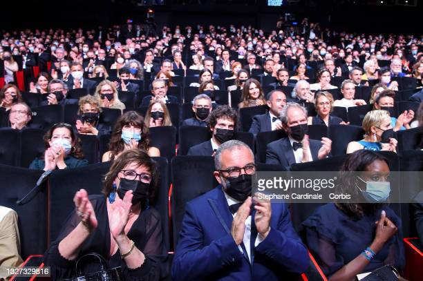 General view of the audience during the opening ceremony of the 74th annual Cannes Film Festival on July 06, 2021 in Cannes, France.