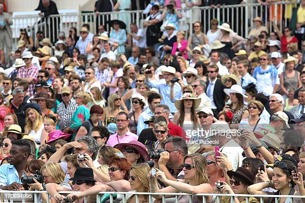 A general view of the audience during the 'Prix de Diane Longines' 2013 at Hippodrome de Chantilly on June 16 2013 in Chantilly France