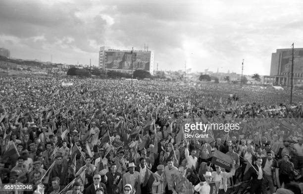 General view of the audience gathered in la Plaza de la Revolucion during the 10th anniversary celebration of the Cuban Revolution Havana Cuba...