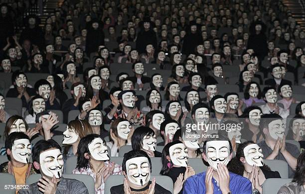 General view of the audience wearing masks during the Japanese premiere of 'V for Vendetta' at Kokusai Forum on April 17 2006 in Tokyo Japan The film...