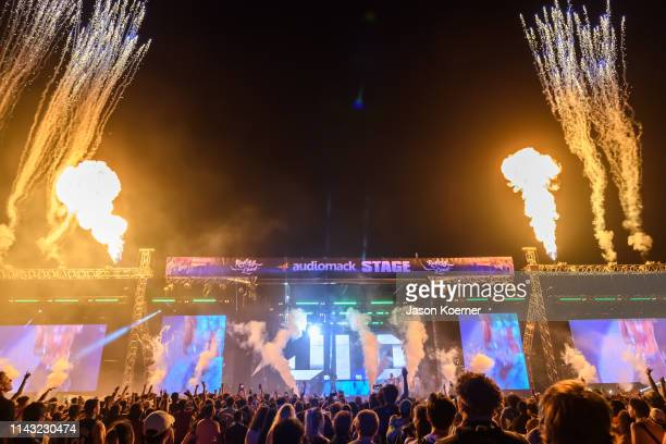 General view of the Audiomack stage during Rolling Loud at Hard Rock Stadium on May 11 2019 in Miami Gardens Florida
