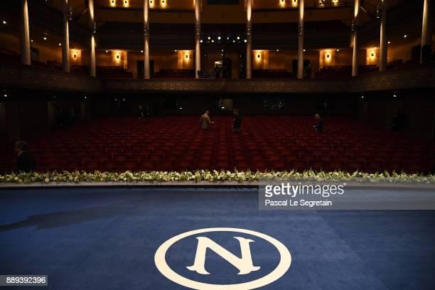 General view of the auditorium prior the Nobel Prize Awards Ceremony at Concert Hall on December 10 2017 in Stockholm Sweden