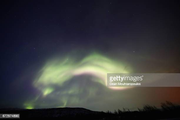A general view of the Aurora Borealis or Northern Lights between Hammerfest and Alta on March 29 2017 in Finnmark Norway