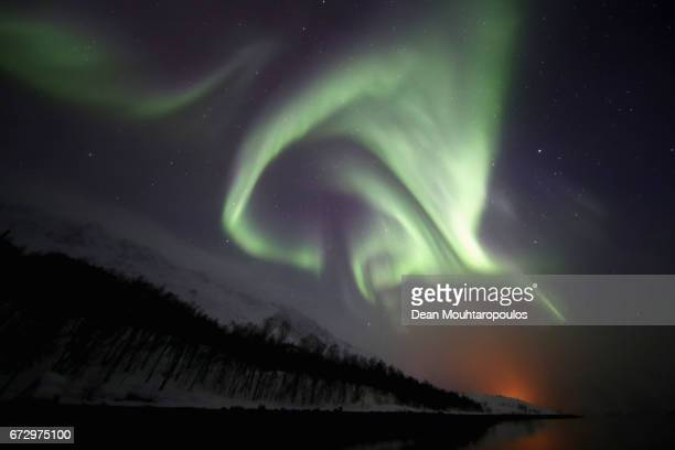A general view of the Aurora Borealis or Northern Lights between Jokelfjord and Alteidet on March 29 2017 in Troms Norway