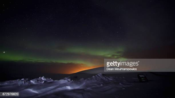 A general view of the Aurora Borealis or Northern Lights on the Stokkedalsvelen E6 between Rafsbotn and Alta on March 30 2017 in Finnmark Norway