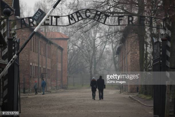 A general view of the Auschwitz main gate during the 73rd anniversary of the liberation of the AuschwitzBirkenau in Oswiecim January 2018 will be the...