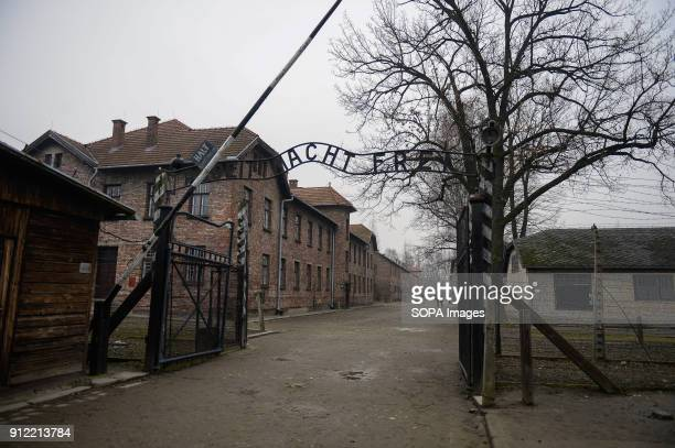 General view of the Auschwitz main gate during the 73rd anniversary of the liberation of the Auschwitz-Birkenau, in Oswiecim. January 2018 will be...