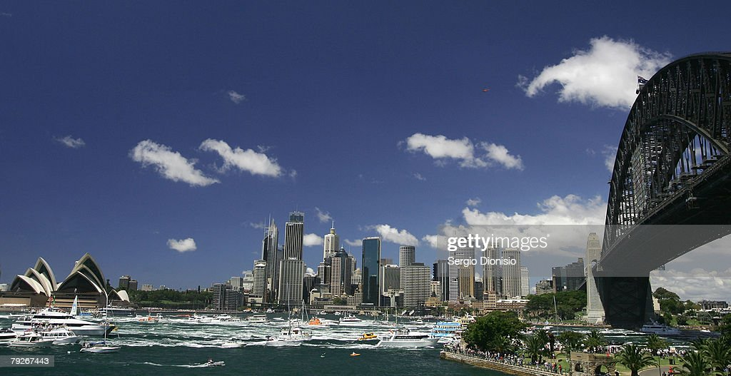 A general view of the Australia Day Parade on Sydney Harbour during the Australia Day celebrations on January 26, 2008 in Sydney, Australia.