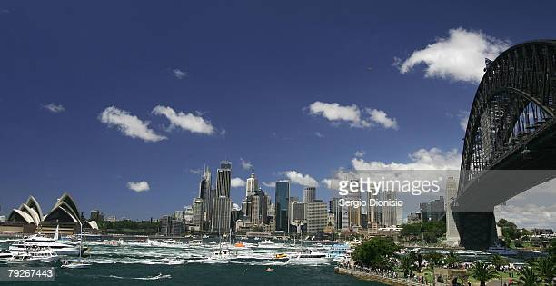 A general view of the Australia Day Parade on Sydney Harbour during the Australia Day celebrations on January 26 2008 in Sydney Australia