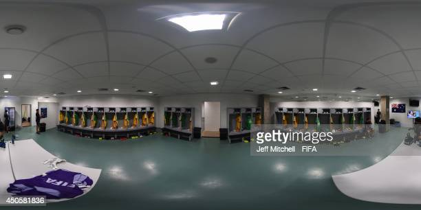 General view of the Australia dressing room before the 2014 FIFA World Cup Brazil Group B match between Chile v Australia at Arena Pantanal on June...