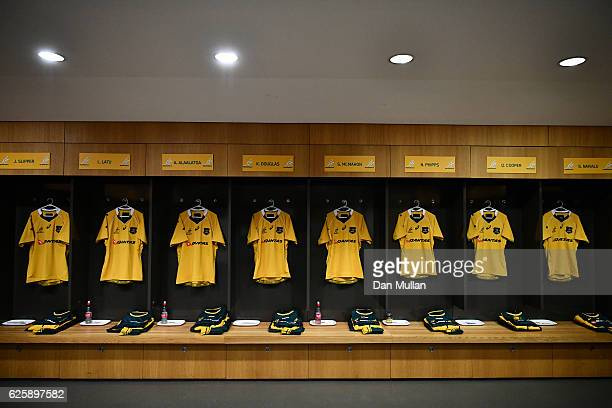 A general view of the Australia dressing room prior to the international match between Ireland and Australia at the Aviva Stadium on November 26 2016...