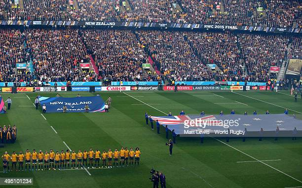 A general view of the Australia team lining up for the national anthems prior to the 2015 Rugby World Cup Final match between New Zealand and...