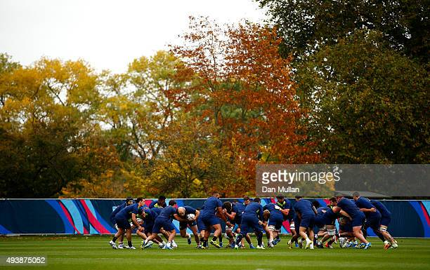 A general view of the Australia team warming up during a training session at The Lensbury Hotel on October 23 2015 in London United Kingdom