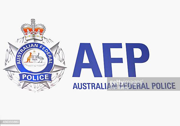 General view of the Australian Federal Police emblem during a press conference about the terrorism raids that took place in Melbourne this morning at...