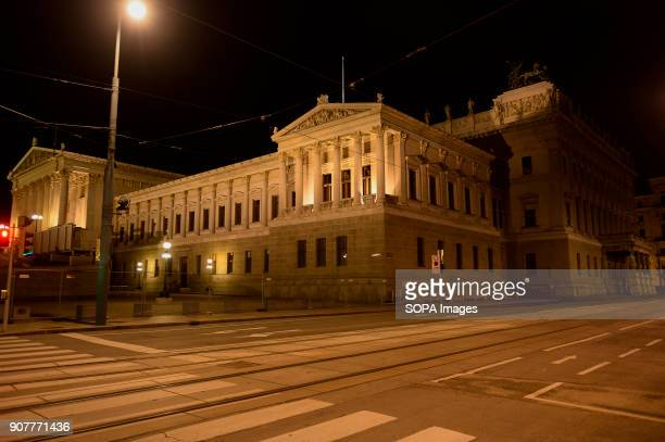A general view of the Austrian Parliament by night in Vienna