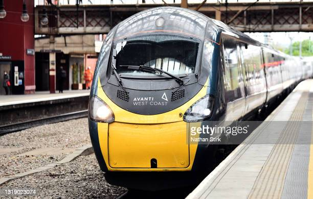 General view of the Avanti West Coast train at Stoke-on-Trent Train Station on May 20, 2021 in Stoke, England. The British government has created a...