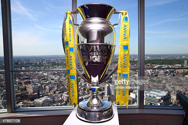 A general view of the Aviva Premiership trophy during the launch of the Aviva Premiership Rugby 201516 Season Fixtures at the BT Tower on July 3 2015...