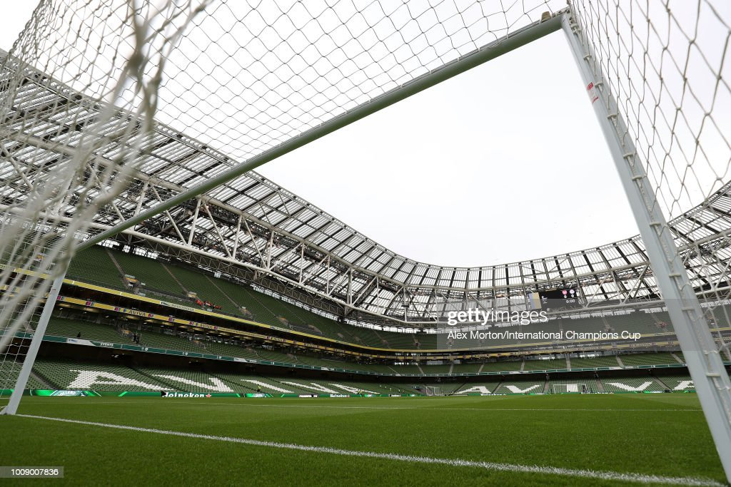 General view of the Aviva Stadium prior to kick off during the International Champions Cup 2018 match between Arsenal and Chelsea at the Aviva Stadium on August 1, 2018 in Dublin, Ireland.