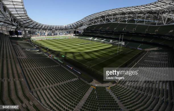 A general view of the Aviva Stadium prior to the European Rugby Champions Cup SemiFinal match between Leinster Rugby and Scarlets at Aviva Stadium on...