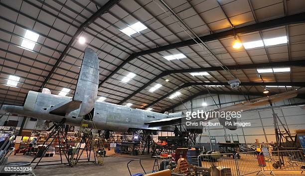 General view of the Avro Lancaster NX611 'Just Jane' as restoration works continue on the aircraft at Lincolnshire Aviation Heritage Centre at East...