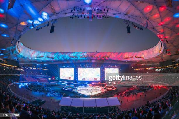 A general view of the award ceremony of the World Championships Final of League of Legends at the National Stadium 'Bird's Nest' in Beijing on...