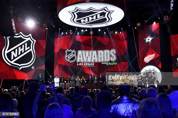 A general view of the award winners onstage at the 2018 NHL Awards presented by Hulu at The Joint inside the Hard Rock Hotel Casino on June 20 2018...