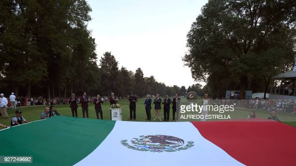 General view of the awards ceremony at green 18, at the end of the World Golf Championship in Mexico City, on March 4, 2018. Five-time major winner...