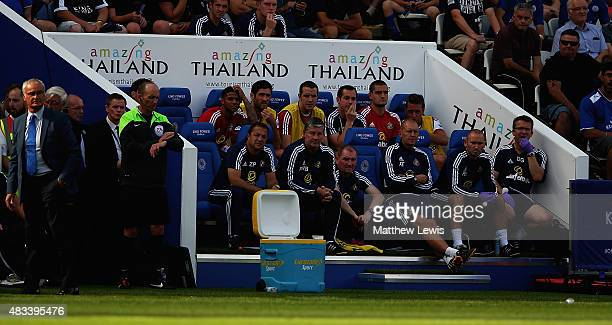 A general view of the away dugout during the Barclays Premier League match between Leicester City and Sunderland at The King Power Stadium on 8th...