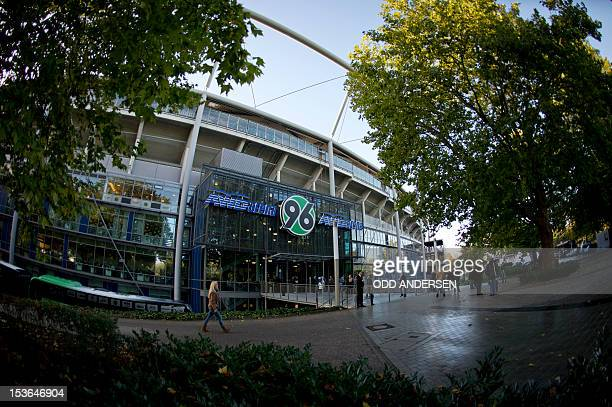 General view of the AWD arena football stadium prior to the German first division Bundesliga football match Hannover 96 vs Borussia Dortmund at the...