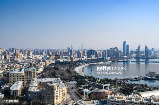 General view of the Azeri capital Baku on March 22, 2019.