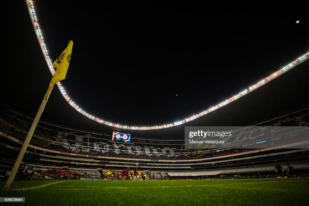 General view of the Azteca Stadium before the match between America and Saprissa as part of the round of 16th of the CONCACAF Champions League at Azteca Stadium on February 28, 2018 in Mexico City, Mexico.