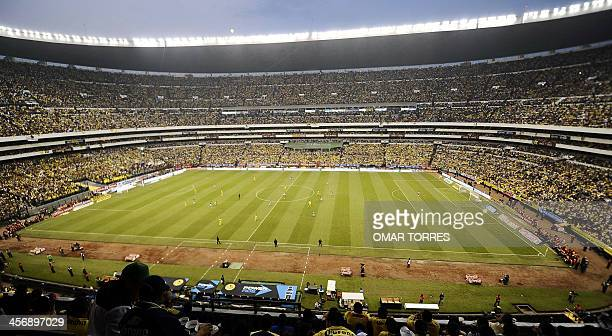 General view of the Azteca stadium during the Mexican Apertura tournament final football match between America and Leon on December 15 2013 in Mexico...
