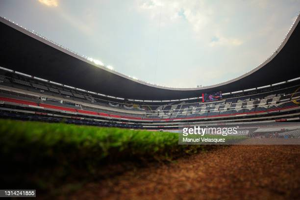General view of the Azteca Stadium prior the 16th round match between Cruz Azul and Atletico de San Luis as part of the Torneo Guard1anes 2021 Liga...
