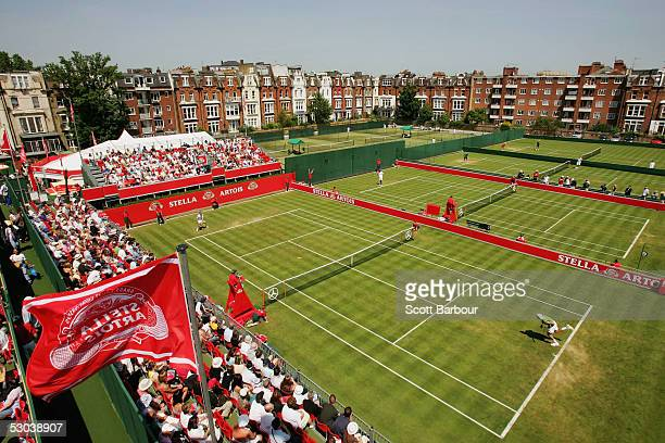 A general view of the back courts during the completion of the second round matches at the Stella Artois Tennis Championships at the Queen's Club...